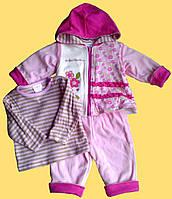 """Костюмчик велюровый, для девочки,""""Цветочек"""": курточка, лонгслив и штанишки 3, 6 мес."""