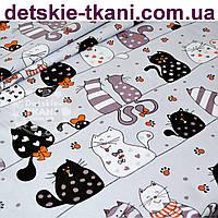 """Бязь польская """"Мартовские коты"""" коричневые на сером фоне (№ 628)"""