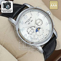 Часы Patek Philippe Geneve black/silver/silver AAA