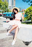Летнее шифоновое платье  персиковое, ментоловое