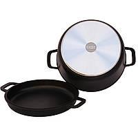 Кастрюля  литая с антипригарным покрытием и крышкой-сковородой.   3 литра.
