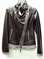 Кожаная женская куртка косуха коричневая