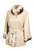 Бежевая кожаная куртка с мехом (размер 2XL-3XL), фото 1