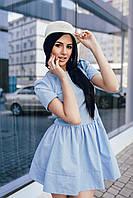 Платье с юбкой-колокол голубое