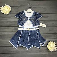 Детское Платье джинс с болеро для девочек оптом р.3-4-5-6 лет
