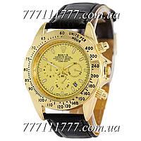 Часы мужские наручные Rolex Cosmograph Daytona Quartz Leather Black-Gold