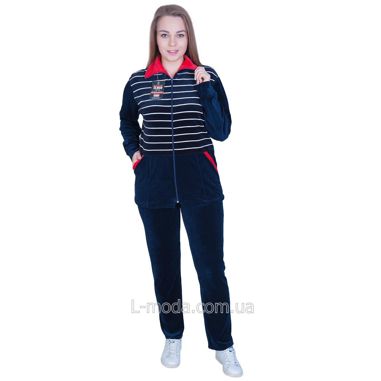 Спортивный костюм женский велюровый с красным воротничком