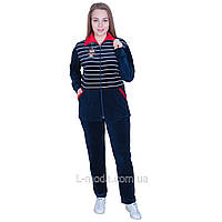 Спортивный костюм женский велюровый с красным воротничком, фото 1