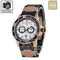 Часы Ulysse Nardin Maxi Marine Diver Chronograph gold/black/white AAA