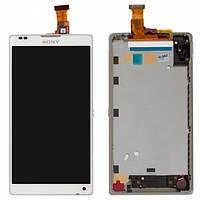 Дисплей (экран) для Sony C6502 Xperia ZL C6503 L35i Xperia ZL, с сенсором (тачскрином) и рамкой белый Оригинал