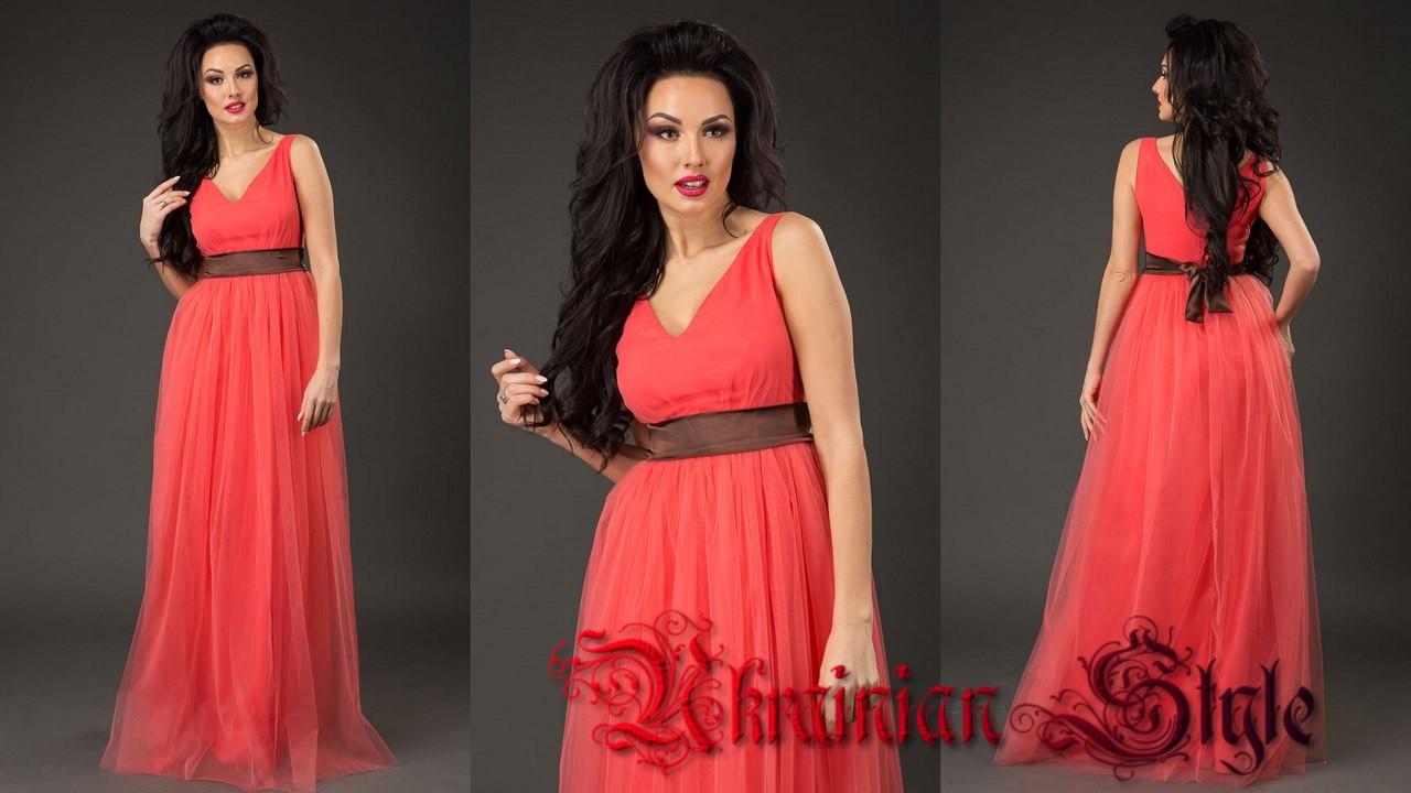49ad6a7ed51 Длинное вечернее платье с пышной юбкой из сетки - Интернет-магазин