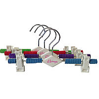 Брючные плечики металлические вешалка 26см с прищепкой и цветным поролоном