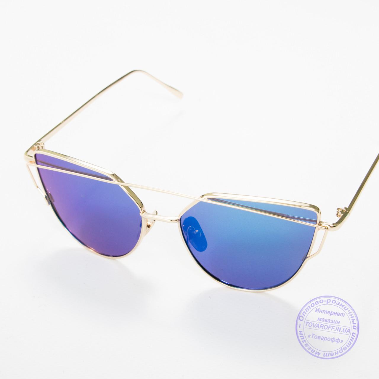 Оптом женские солнцезащитные очки золотистые - 9013 нет, 3, Металл, Зеркальное, Женский, Поликарбонатные, Золотистый, Синий