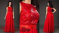 Красное вечернее платье в пол с пайетками