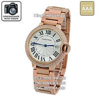 Часы Cartier 3881 Ballon Bleu de Date Crystals Rose AAA