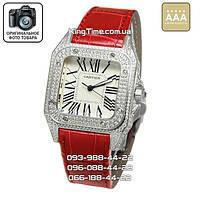 Часы Cartier 3885 Santos de Cartier Santos Dumont Large red AAA