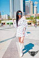 Мини-платье с открытыми плечами синее, розовое, персиковое