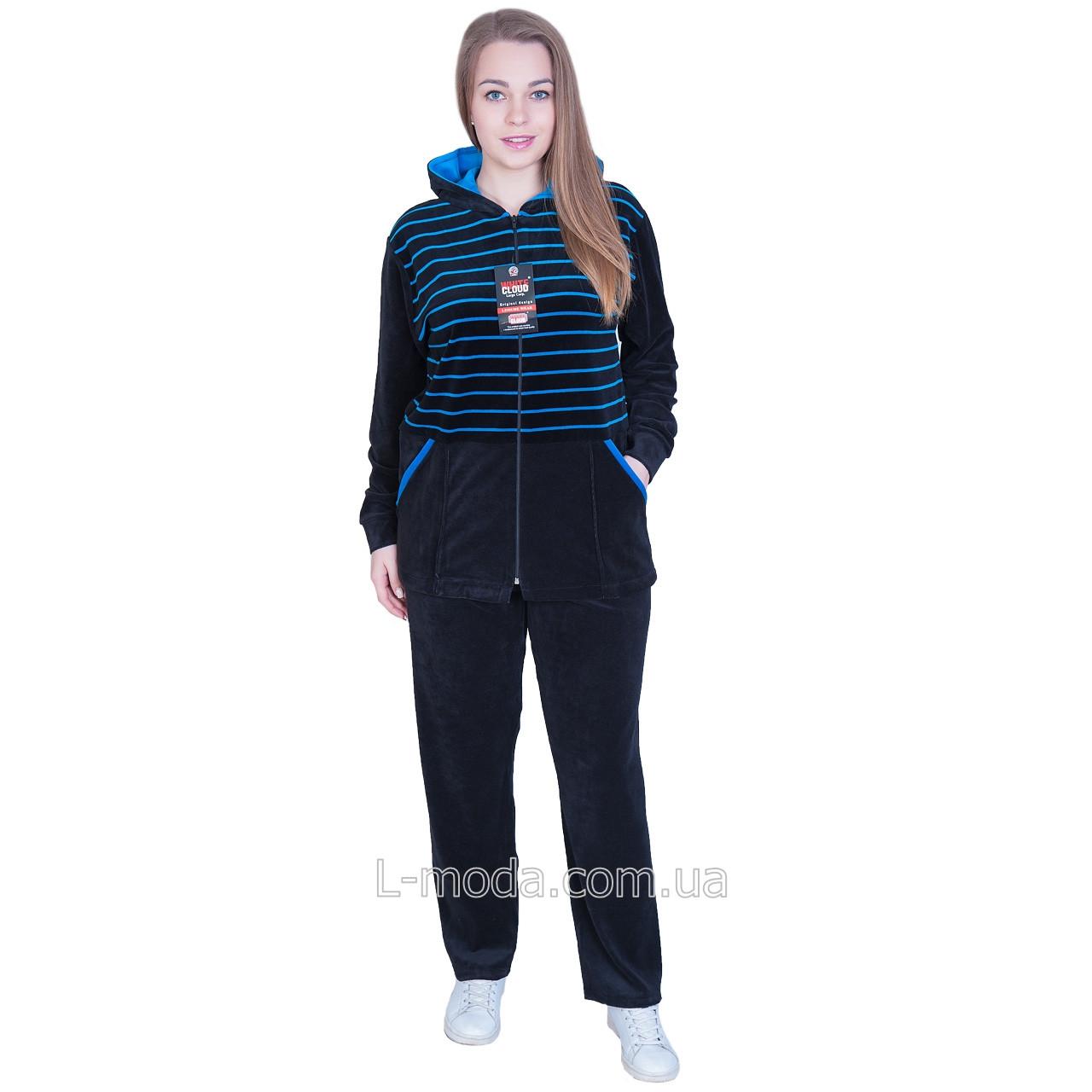 Спортивный костюм женский велюровый с капюшоном темно-синий