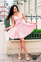Мини-платье с бантом розовое, зеленое
