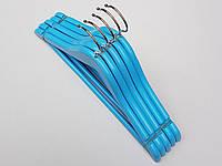 Плечики вешалки тремпеля деревянные  голубого цвета, длина 33,5 см, в упаковке 5 штук