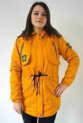 Куртка парка демисезонная женская жёлтая