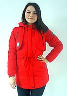 Куртка парка молодежная весенняя красная 46 размер