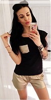 Женский летний костюм футболка+шорты из экокожи