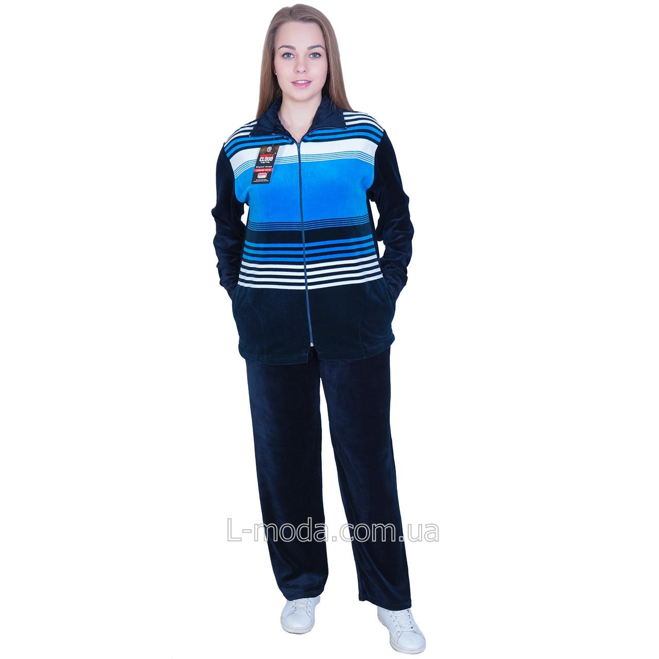 Спортивный костюм женский велюровый широкая полоса