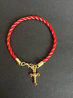 Браслет красная нить от сглаза Крестик золотистый