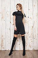 Женский черный комбинезон шортами с кружевом. Материла французский трикотаж, кружево. Размер SM,ML