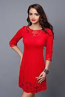 Красное трикотажное нарядное платье мини с перфорацией