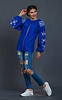Вышиванка женская Окошечко, синий лен, белая вышивка, фото 1