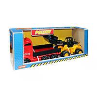 Набор Автомобиль бортовой и трактор-погрузчик Полесьев коробке (36865)