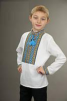 Детская вышитая рубашка для мальчика, жёлто-голубой узор, длинный рукав. белая
