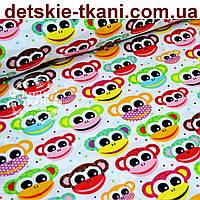 Бязь польская  с разноцветными обезьянками (№ 633а)