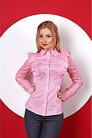 Коттоновая женская рубашка с рюшами по бокам, розового цвета