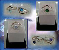 Серебряное женское кольцо с золотом - Чайки