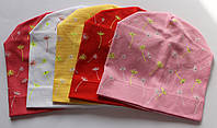Трикотажные шапки на девочку 50-54 см Одуванчик (цвета в ассортименте)