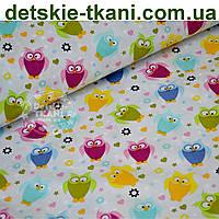 Ткань бязь с мини-совами на светло-сером фоне (№ 635а)