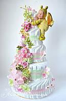 """Торт з памперсів """"Мрії"""" 120 штук з метеликом Анна Геддес"""