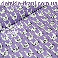 Ткань бязь с кроликами на сиреневом фоне (№ 636а)