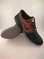 Кроссовки мужские Nike Air из натуральной кожи чёрный c рыжим