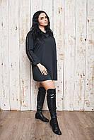Женское черное платье-рубашк с кружевом на спине и рукавах.Ткань рубашечная, кружево. Размер 48-50,50-52,52-54