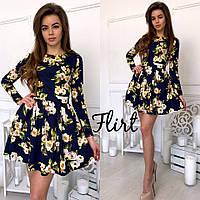 Короткое платье с пышной юбкой Цветы