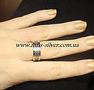 Обручальное кольцо серебро с золотом Океан, фото 2