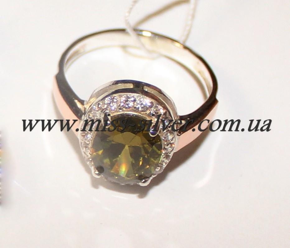 Кольцо серебряное с хризолитом им. Анжела
