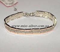 Женский браслет из серебра с золотом Фаина