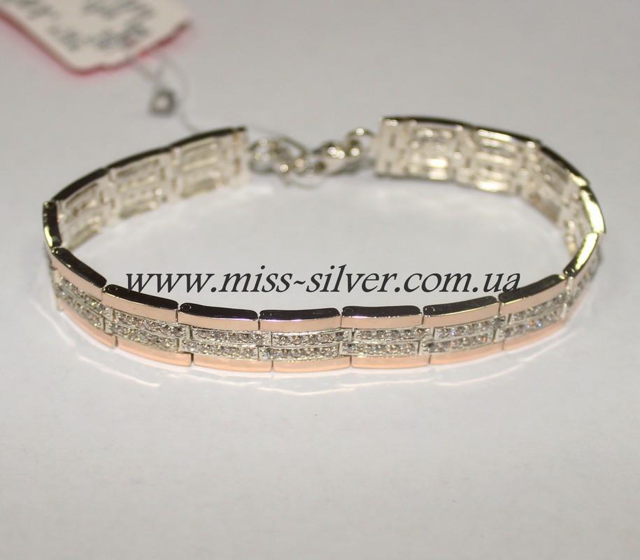 0dd4299631a5 Женский браслет из серебра с золотом Фаина - Miss Silver – магазин  ювелирных украшений из серебра