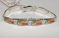 Серебряный браслет с цветной эмалью Лилия
