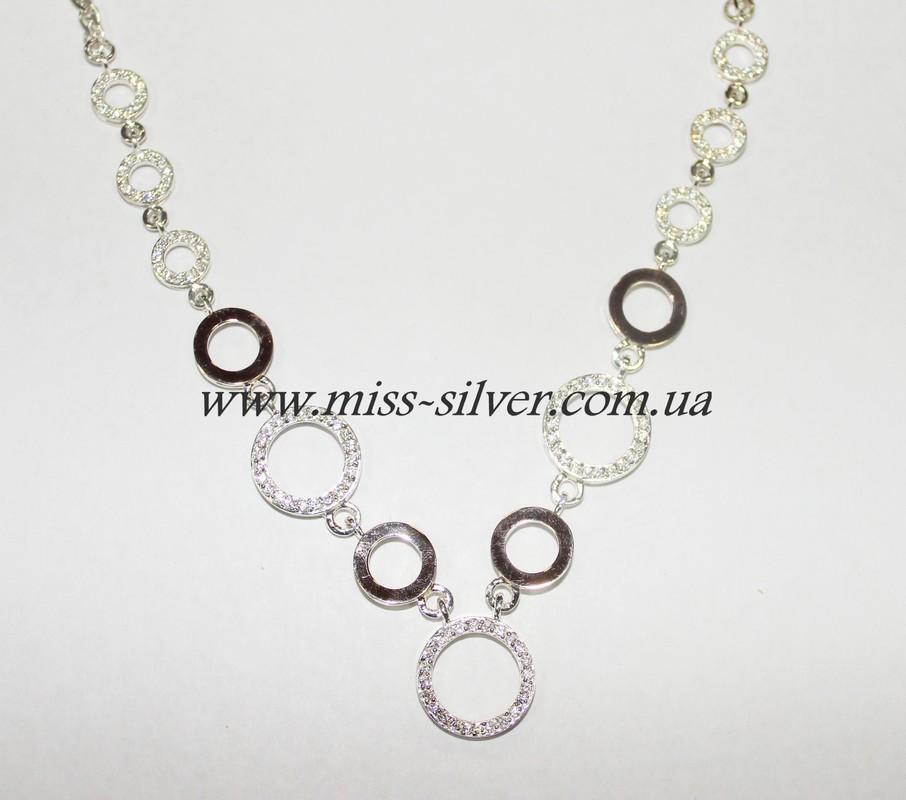 Колье серебро с камнями Оливия